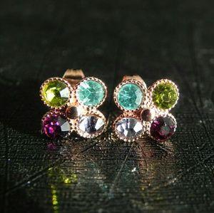 Multicolor CZ Clover Stud Earrings